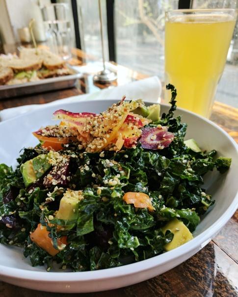 A delicious kale salad with kombucha